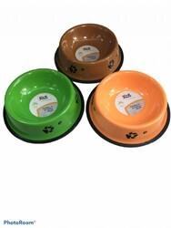 Fatih-Pet - 203243 Ally Paws Renkli Pati Desenli Çelik Mama Kabı 18cm 16oz