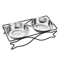 Little Friends - 2li Lüx Metal Ayaklı Kedi Mama ve Su Kabı L
