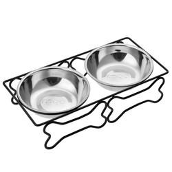 Little Friends - 2li Lüx Metal Ayaklı Köpek Mama ve Su Kabı S
