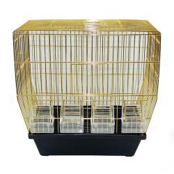 Cemil - 4 Yemlikli Pirinç Kanarya Kafesi 24x41x42 cm