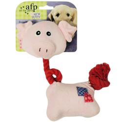 Afp - 4124 Puppy - Rope Neck Pig /İpli Boyunlu Domuzlu Köpek Oyuncağı