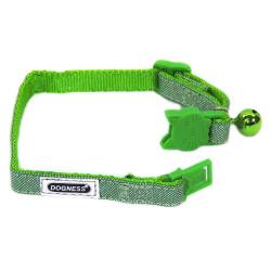 Dogness - 60028-C21 Zilli Yeşil Kedi Boyun Tasması 1 cm/20-25 cm
