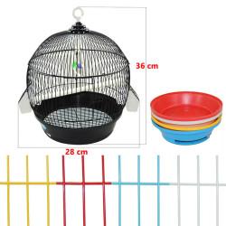 Fatih-Pet - A001 Silindir Kuş Kafesi Boyalı Mix Renk