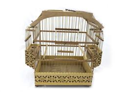 Fatih-Pet - Ahşap Kafesi Telli İşlemeli 43x22x43 cm