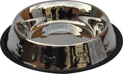 Fatih-Pet - ASBE- 32Oz Oval Pati&Kemik Desenli Çelik Mama Kabı