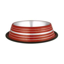 Wonderfull Pet - ASRPSL-64 Oz Gümüş Şeritli Çelik Mama Kabı Kırmızı