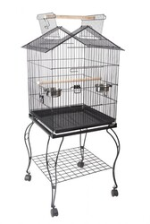 BirdLife - Birdlife H03 Sehpalı Papağan Kafesi Dövme Demir Siyah 51x51x127cm
