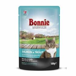 Bonnie - Bonnie Somonlu Alabalıklı Pouch Jely Kedi Konservesi 100gr
