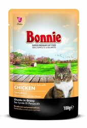 Bonnie - Bonnie Tavuklu Pouch Gravy Kedi Konservesi 100gr