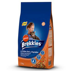 Brekkies - Brekkies Cat Mix Chicken Duck Vegetables - Mix Tavuklu ve Sebzeli Kedi Maması 1,5 Kg