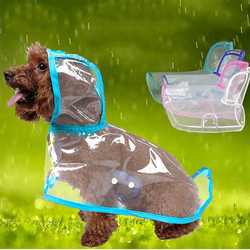 Doggo - Küçük Irk Buzlu Şeffaf Köpek Yağmurluğu Mavi L