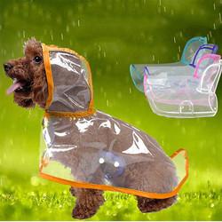 Doggo - Küçük Irk Buzlu Şeffaf Köpek Yağmurluğu Turuncu L