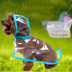 Doggo - Küçük Irk Şeffaf Köpek Yağmurluğu Mavi M