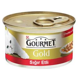 Nestle Purina - Gourmet Gold Parça Etli Soslu Sığır Etli Kedi Konservesi 85g 24 lü