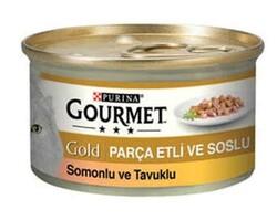 Nestle Purina - GourmetGold Parça Etli ve Soslu Somonlu ve Tavuk Etli Konserve 85gr