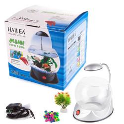 Hailea - Hailea V02 Led Işıklı Mini Fanus Gri 1,8 L