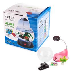 Hailea - Hailea V02 Led Işıklı Mini Fanus Pembe 1,8 L