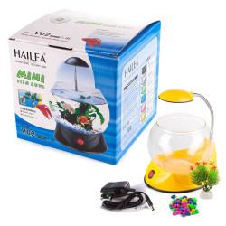 Hailea - Hailea V02 Led Işıklı Mini Fanus Sarı 1,8 L