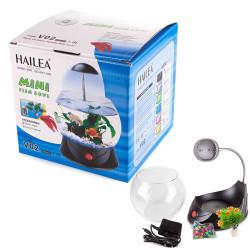 Hailea - Hailea V02 Led Işıklı Mini Fanus Siyah 1,8 L