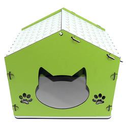 Little Friends - İşlemeli Ahşap Kedi Kulübesi