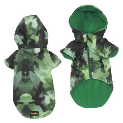 Fatih-Pet - Kapüşonlu Köpek Mont Kamuflaj Yeşil 5 li Set