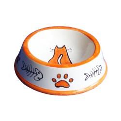 Güner Seramik - M02-02-2 Turuncu Kılçık-Pati Desenli Kedi Mama Kabı