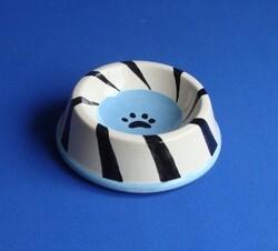 Güner Seramik - M02-03-3 Mavi Pervane Desenli Kedi Mama Kabı