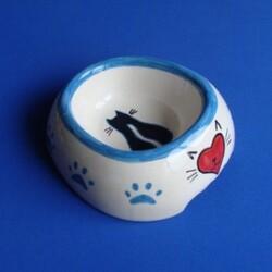 Güner Seramik - M04-01-1 Mavi Kalpli Pati Desenli Kedi Mama Kabı