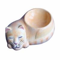 Güner Seramik - M08-01-1 Gri Uyuyan Kedi Desenli Kedi Mama Kabı