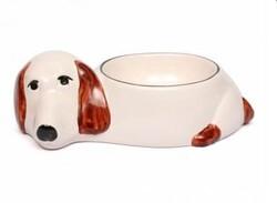 Güner Seramik - M09-01-1 Beyaz/Kahve Yatan Köpek Desenli Köpek Mam