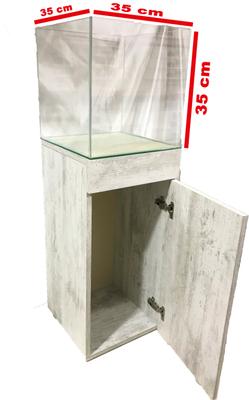 Mobilyalı Akvaryum Antik Beyaz 35x35x35 cm