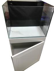 Fatih-Pet - Mobilyalı Arkası Sumplı Akvaryum Beyaz Membran Kapaklı 60x50x50 cm