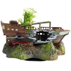 Fatih-Pet - OJ-3 Akvaryum Dekoru Hareketli Mücevher Kutusu ve Batık Gemi