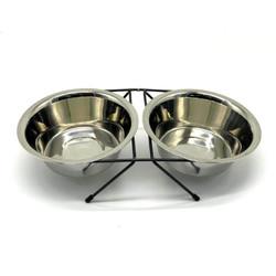 Fatih-Pet - Tel Ayaklı İkili Çelik Mama Kabı 16,5 cm
