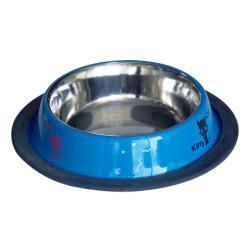 Tommy - VM2517B Kedi Desenli Çelik Mama Kabı Mavi 8 OZ