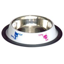 Tommy - VM2517W Çelik Mama Kabı Kedi Desenli Beyaz 8 Oz